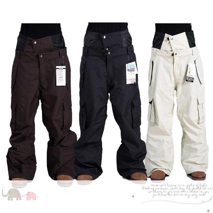 滑雪褲 男女款韓國防風防水耐磨透氣 時尚韓版情侶滑雪棉褲