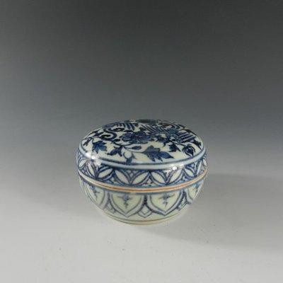 百寶軒 小茶瓷館仿古瓷器元青花雙鳳紋印泥盒當代工藝品古董古玩 ZK1478
