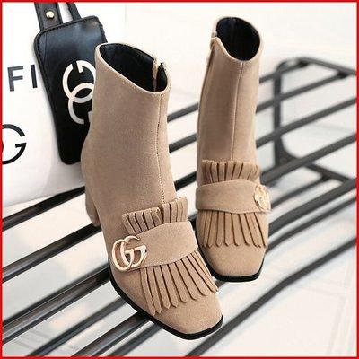 *鞋館Shoes hall*【A12597】甜美率性風!流蘇金屬裝飾低跟小短靴~3色~(可訂做大尺碼)
