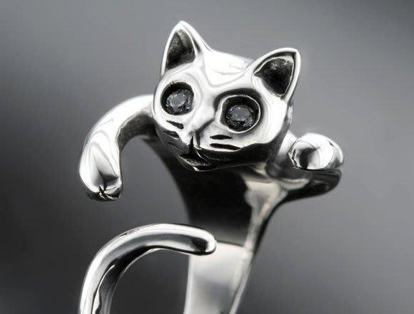 【創銀坊】小貓 貓咪 925純銀 戒指 戒子 手環 手鍊 項鍊 墜子 耳針 耳環 貓 熊貓 貓熊 kitty 狗 招財貓