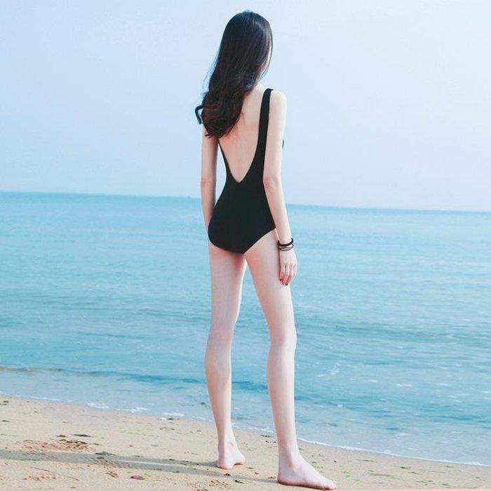連身泳衣女溫泉網紅款性感顯瘦遮肚韓國ins風露背黑色保守仙女范BLBH
