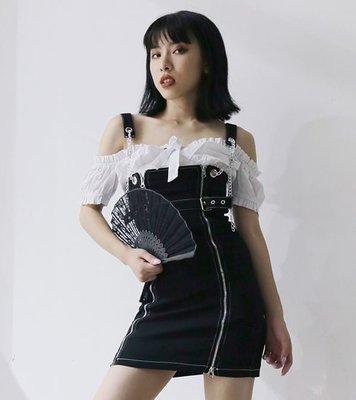 【黑店】個性鍊條拉鍊牛仔吊帶裙 包臀牛仔吊帶裙 個性吊帶裙 百搭顯瘦吊帶裙 YN103