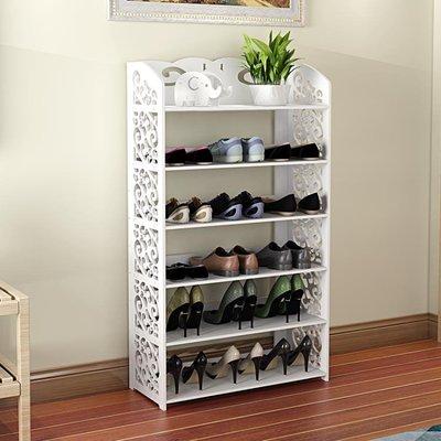 家用歐式鏤空客廳鞋架防塵置物架時尚多層組裝鞋櫃門口白色收納架YSY