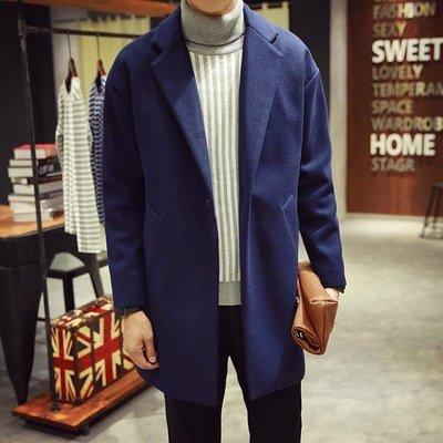 2019新款中長款風衣男冬季韓版寬鬆毛呢大衣英倫學生呢子外套加厚