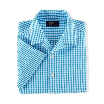 全新美國Polo Ralph Lauren藍格泡泡布口袋短袖襯衫 大童M