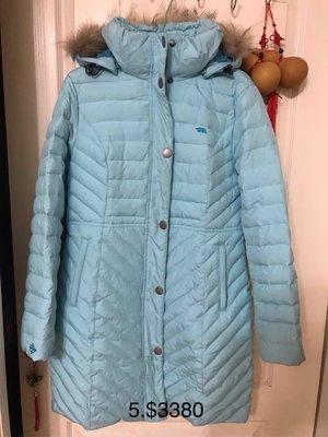 北極熊polar bear長版羽絨外套,水藍色L號 traveler