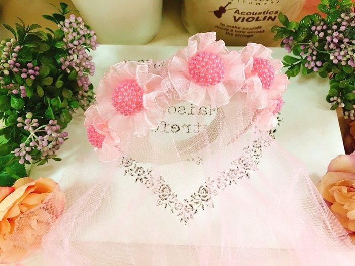 【華蕊】* B款珍珠球花髮箍頭紗 * 髮圈 小花童 公主頭紗 甜美 可愛 蕾絲 花環