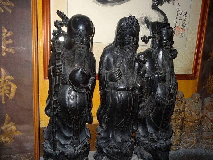 【御寶閣Viboger】古董 文物 藝品 字畫 化石~老木雕 大尊 福祿壽 三星拱照 福神 祿星 壽星