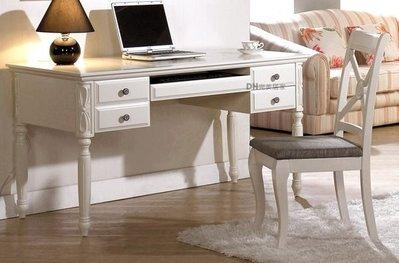 【DH】貨號G345-1《亞尼》4.6尺潔白烤漆電腦桌˙質感一流˙歐風設計˙主要地區免運
