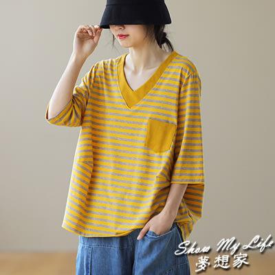 【夢想家】純棉T恤女 七分袖假兩件上衣 V領條紋T恤/4色-0415