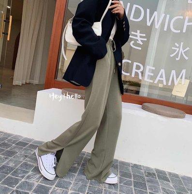 (現貨)韓國春夏涼感開叉拖地褲寬褲
