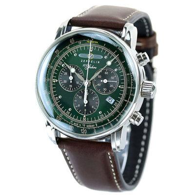 預購 ZEPPELIN 齊柏林飛船 ZE7686-4 手錶 42mm 100周年 日本限定 綠面盤 深棕色皮帶 男錶女錶