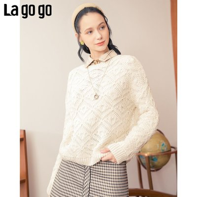 Miss正韓秋冬季女裝Lagogo拉谷谷2020年冬季新款圓領套頭上衣鏤空白色長袖毛針織衫女
