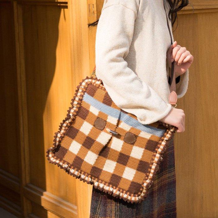 聚吉小屋 #蘇蘇姐家復古木耳邊斜挎包包手工diy毛線團鉤針編織棉線材料包