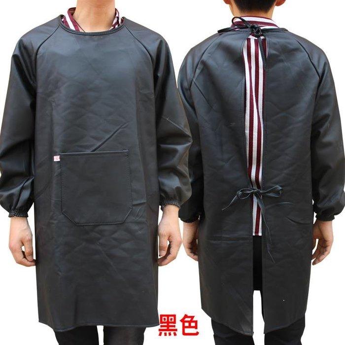 廠家~低價圍裙防水防油長袖成人罩衣加大加肥皮革耐酸堿pu反穿衣工作服罩衣
