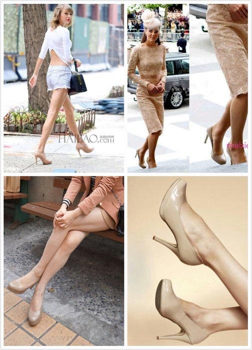 重回侏羅紀神鞋 好萊塢女星的最愛~美國STUART WEITZMAN裸色漆皮高跟鞋