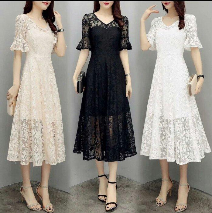 韓版 蕾絲 短袖 洋裝 V領 禮服 長版 婚宴 連身裙 薄紗 透視 顯瘦 修身 Me Gusta
