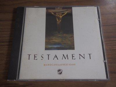 ◎MWM◎【二手CD】Marocana With Nicky Adams- Testament 英版,有ifpi,片況佳