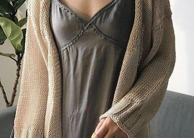 早冬新款正韓少女慵懶風百搭v領薄款防曬衣開衫毛衣針織外套女