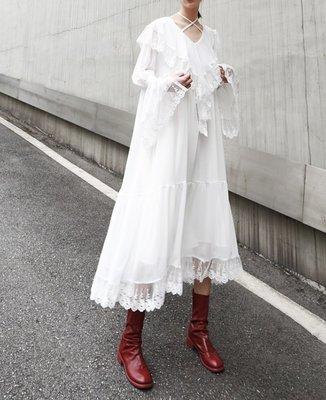 RVP-【像個仙女】春裝新款超仙蕾絲雪紡花邊洋裝-15110