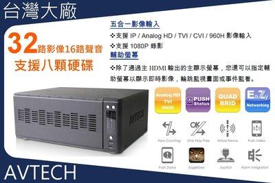 現貨供應 支援八顆10TB硬碟 台灣製造 國際大廠 32路 監控主機 1080P 五合一 還可額外裝四隻IPCAM