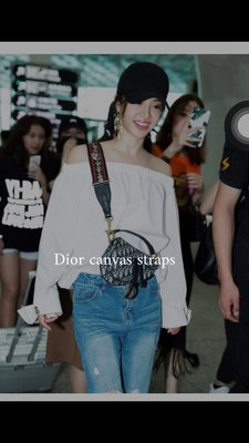 全新 正品 Dior 迪奧 Canvas Straps 馬鞍包 Lady dior 寬肩背帶(蔡依林同款)