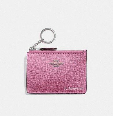 COACH 21072 ~似12186馬車系列 珠光粉紅色  零錢包/鑰匙包/證件夾/ 悠遊卡夾~現貨在台