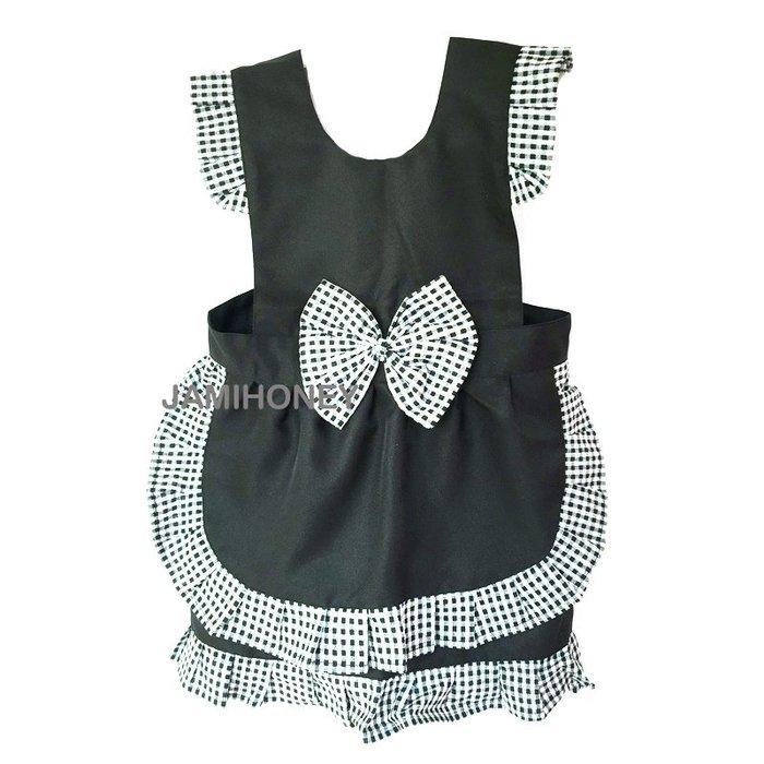 氣質女僕黑色格子蕾絲公主圍裙 兒童圍裙【JI2386】《Jami Honey》