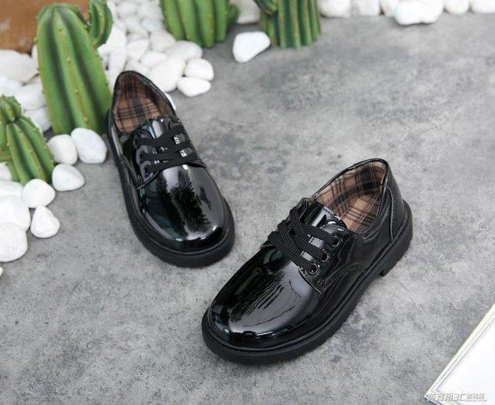 《全館免運 可開發票》男童皮鞋兒童鞋綁鞋帶貼扣黑色男孩子學生學校演出禮儀小皮鞋 【FOLLOW ME】