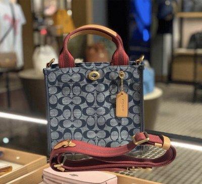 (Outlet特惠)COACH 3663 新款女士Chambray藍色牛仔帆布托特包 手提包 小號斜挎包 附購買證明
