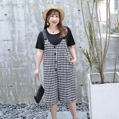 ✿plump girl 韓系✿中大尺碼女裝孕婦裝格子背帶褲套裝2965