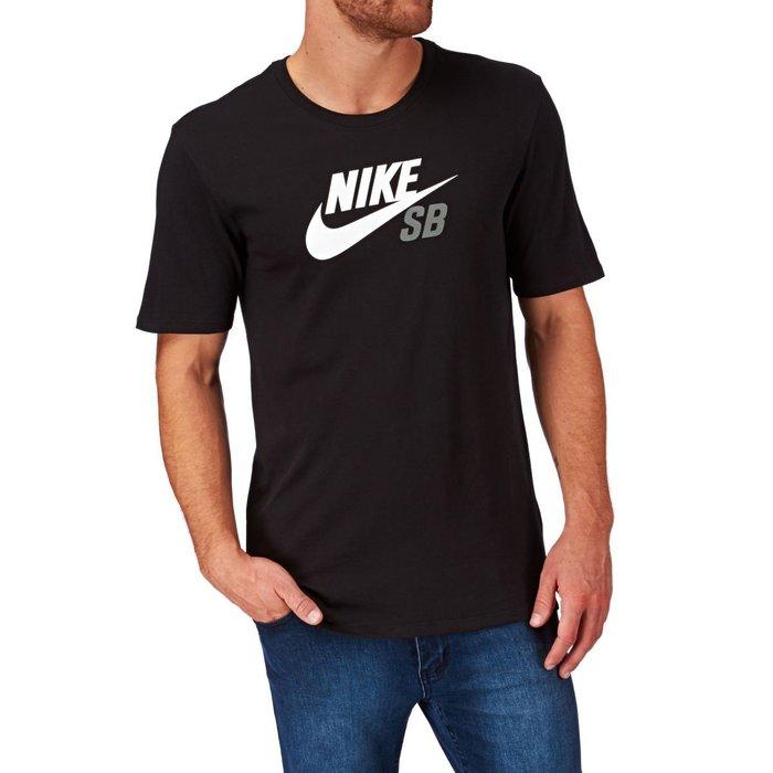 美國百分百【全新真品】Nike SB logo T恤 耐吉 短袖 T-shirt 運動 休閒 黑色 XS號 G556