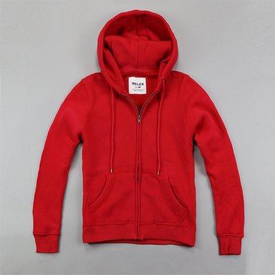 【MELEK Clothes】【MELEK】MELEK女款棉質連帽外套全素款紅 I01140124-03