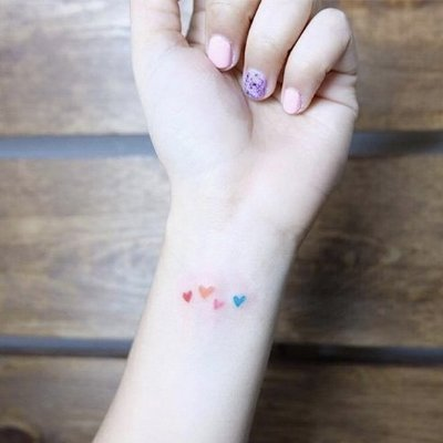 【萌古屋】】彩色愛心 - 防水紋身貼紙刺青貼紙 HC-3004