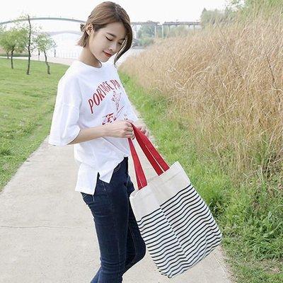 手提包 帆布包 手提袋 條紋環保購物袋【SPE02】