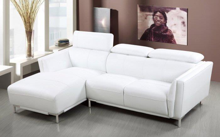 【DH】商品貨號N666-1商品名稱《米卡爾》L型白皮沙發組(圖一)右向。備有左向。枕頭可調高底。主要地區免運費