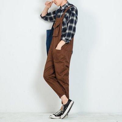 日系復古男士吊帶連體褲哈倫潮流寬鬆背帶褲學生青年表演韓版褲子