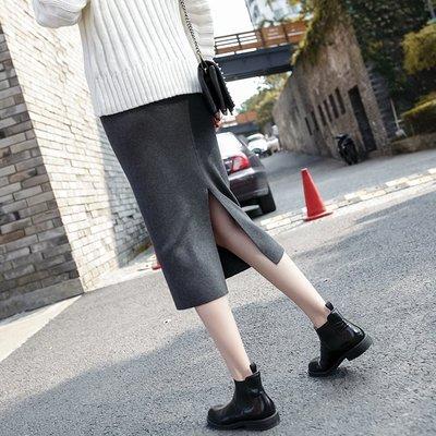 【UBY】後開衩裙!高腰顯瘦包臀針織裙 ◄No10226