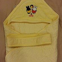 可愛miffy黃色純棉包巾附綁帶