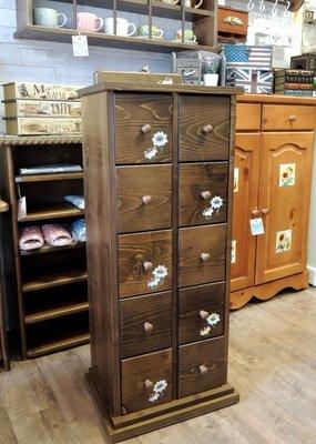 雲杉彩繪十抽收納櫃 多抽屜收納櫃 中藥櫃 收納抽屜 多抽櫃 CD櫃