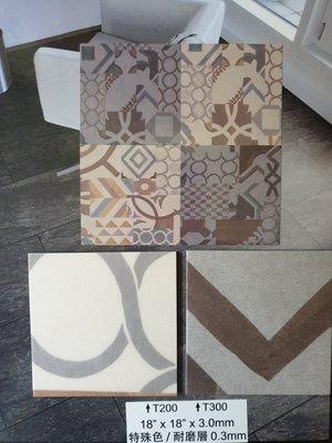 美的磚家~特殊花色!超酷!藝術彩繪花磚活潑普普風鄉村風仿磁磚塑膠地磚塑膠地板~尺寸45cmx45cmx3mm每坪1500