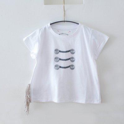 日本Michirico流蘇短袖T-shirt (白色)日本製造size M clearance sale