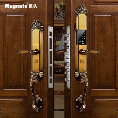 指紋鎖巨頭(Magnate)指紋鎖防盜門家用別墅雙開門 銅門電子密碼鎖 APP遠程 歐式智能大門鎖 (單機版)-單開門-紅古銅