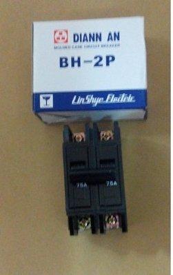 電安 BH型 2P 75A 無熔線斷路器 無熔絲開關 2P 75A 台灣製造