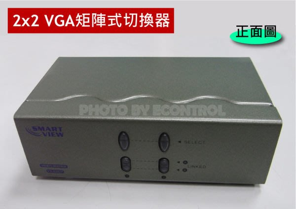 【易控王】二進二出VGA矩陣 切換器◎2進2出VGA Matrix◎250MHz◎ 距離可達65M◎附變壓器(40-055)