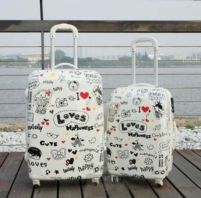 【優上精品】韓國塗鴉 旅行箱拉桿箱行李箱可愛箱包萬向輪24abs女20寸(Z-P3220)