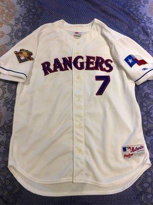 Ivan Rodriguez MLB 2001 Rawlings 絕版德州遊騎兵球員版球衣,大聯盟百年紀念臂章,Size:48