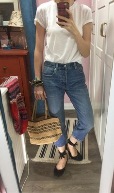 Miolla 美國品牌Gap 中藍自然刷色straight droit 高腰復古八九分牛仔褲