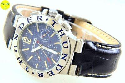 @(六四三精品)@THUNERR(真品)(三眼六針)不銹鋼錶殼,,真皮錶帶.自動上鍊龍頭鎖入式.藍面