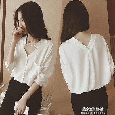 ZIHOPE 雪紡襯衫女長袖早春裝新款V領上衣韓版寬鬆百搭打底韓版襯衣ZI812